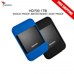 ADATA HD700 1TB Water/Dust/Shockproof External Hard Drive (Black / Blue)