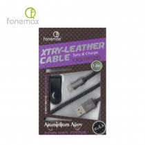 Fonemax X-Try Leather Lightning Cable 1.0m - Silver