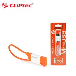 CLiPtec OCC100 THE LOCK Slim Flat Keyring Style USB 2.0 Micro USB Cable - Orange