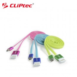 CLiPtec OCC130 REVERSABLE Metal End Robust Flat 1m USB 2.0 Micro USB Cable