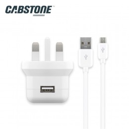 Cabstone Power Set Micro USB Sync & Charging Cable with 2.1A Wall Charger
