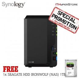 (Pre-Order@10days) Synology DS218+ NAS DiskStation 2-Bays(Plus Series) + 1x SEAGATE HDD IRONWOLF (NAS) 1TB