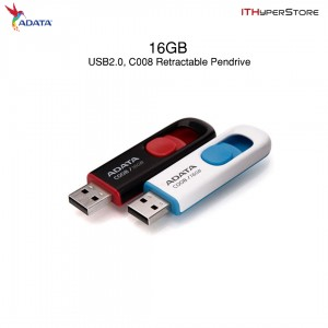 ADATA C008 16GB USB2.0 Capless Retractable Sliding USB2.0 Pen Drive