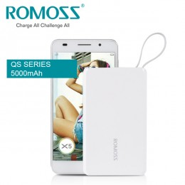 ROMOSS QS05 5000mAh Power Bank Mini Portable Charger with Built-in micro USB Cable and Lightning