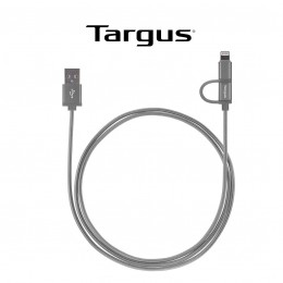 TARGUS - ALUMINIUM SERIES 2-IN-1 (LIGHTNING & MICRO USB) CABLE (1.2M) - SPACE GRAY