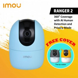 IMOU Ranger 2 (Blue) 360° Coverage with AI Human Detection and Privacy Mode Human Detection   1080P   360° Coverage   Built-in Siren   Smart Tracking   Privacy Mode   Abnormal Sound Alarm   Night Vision   Two-way Talk   Cloud (FREE Silicon Cover)