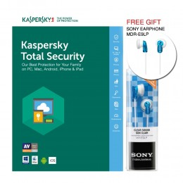Kaspersky Total Security 1 PC / 3 PC 2017 (FREE SONY EARPHONE MDR-E9LP)