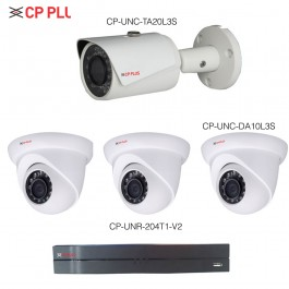 CP PLUS Network HD IR CAMERA CCTV PACKAGE 2 - (1MP HD IP Dome Camera(x1) + 2MP HD IP Bullet Camera(x3) + Network Video Recorder(x1)