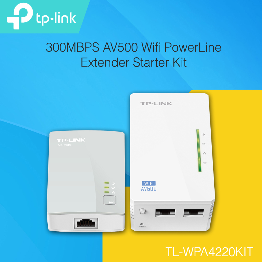 tp link tl wpa4220kit 300mbps av500 wifi powerline extender starter kit. Black Bedroom Furniture Sets. Home Design Ideas