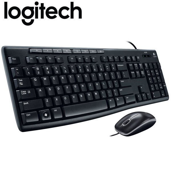logitech wired keyboard and mouse combo mk200 usb. Black Bedroom Furniture Sets. Home Design Ideas